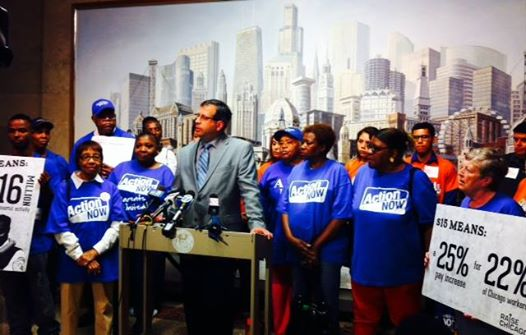 Press conference calling for a $15 hourly minimum wage in Chicago