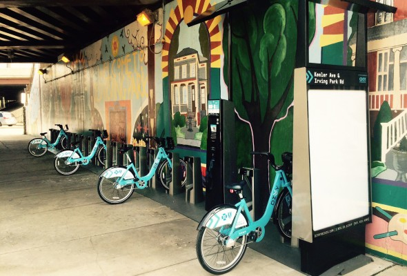 Divvy bike sharing stations to the 45th Ward
