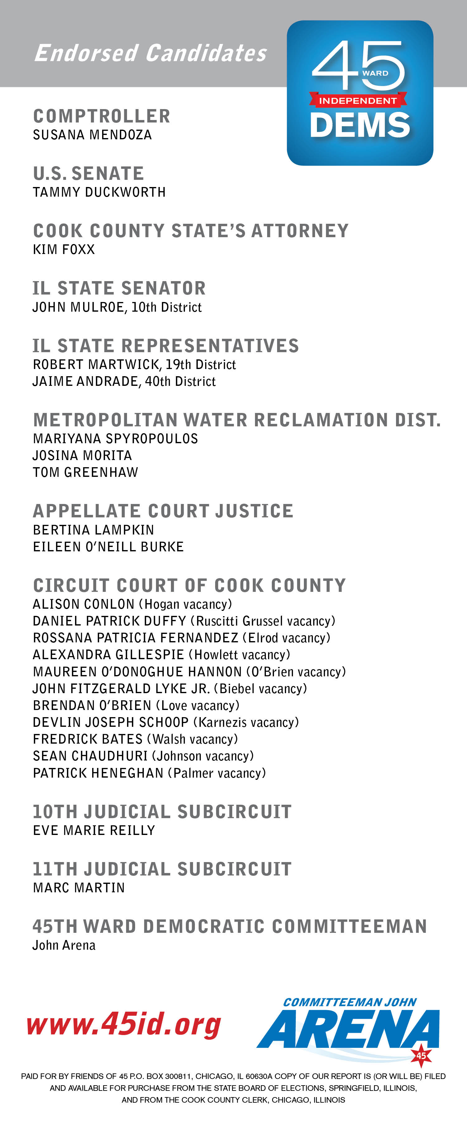 January 2016 45th Ward Independent Democrats John Arena The Circuit Court Of Cook County We Are Largest Judicial Our Endorsed Candidates